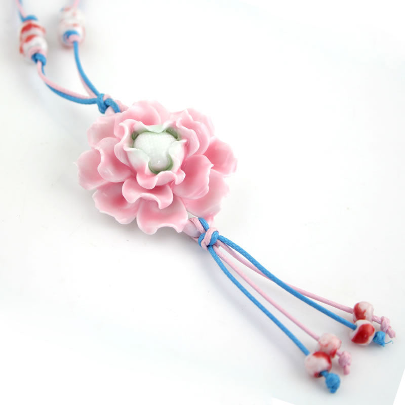 Handmade peony pattern porcelain necklace as sweater decoration
