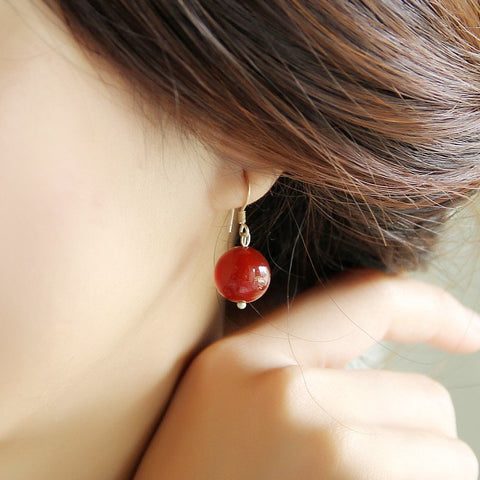 Exquisite original vintage OL simple non- pierced red agate cute short earrings