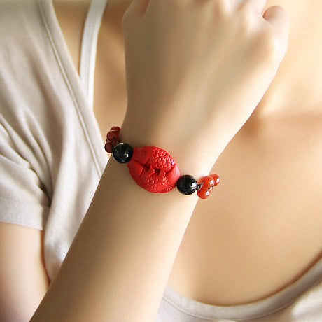 Classical carved lacquerware bracelet