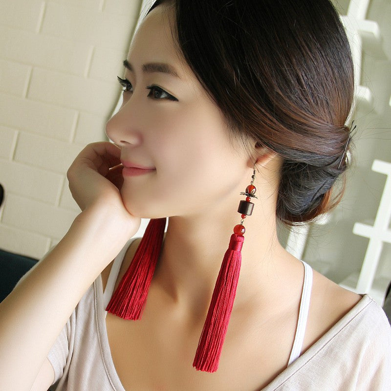 wooden female long tassel exaggerated  accessories earring