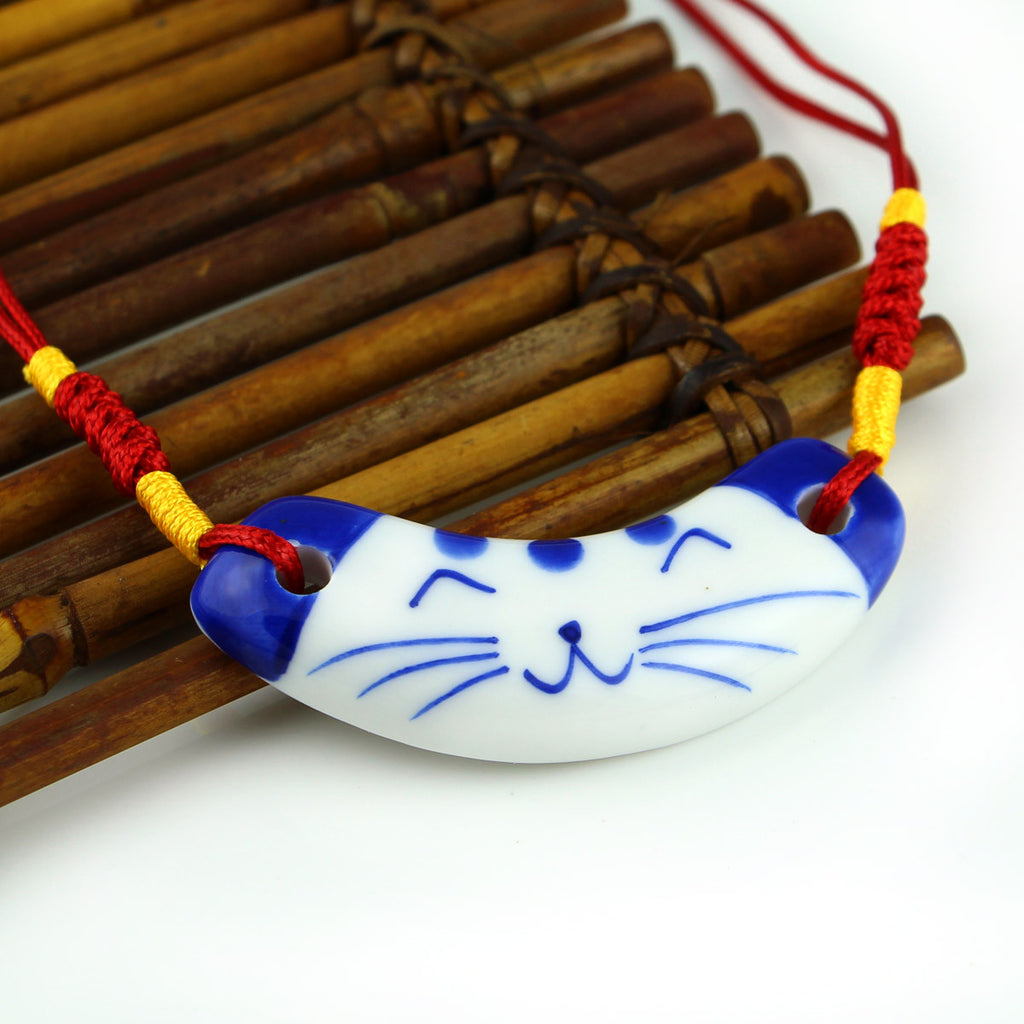 Handmade blue and white porcelain cat pattern ceramic necklace