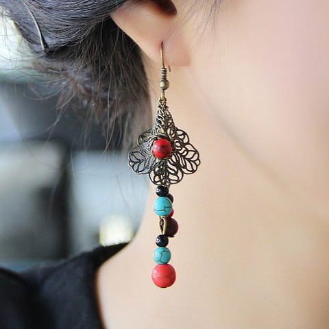 Non-allergenic original national style turquoise drop shaped earrings