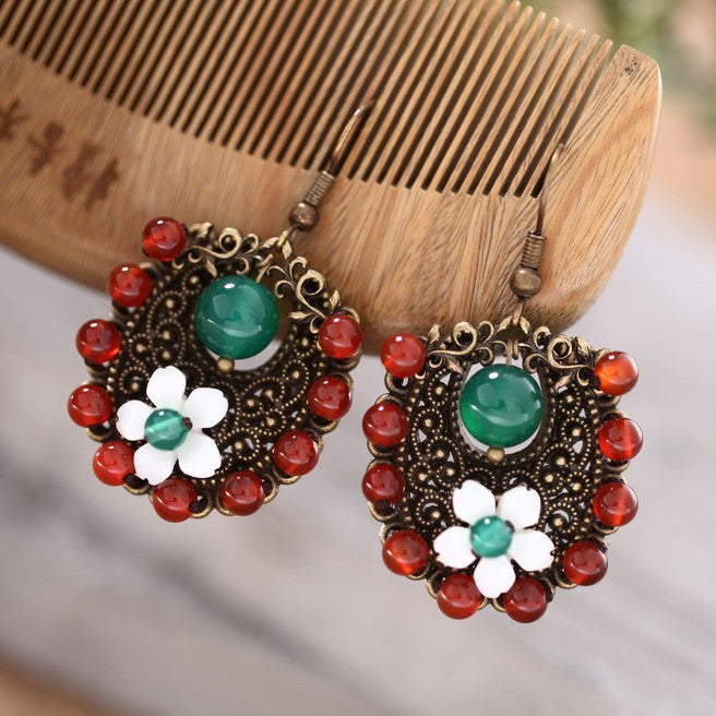 Retro handmade shell shaped non-allergenic earrings