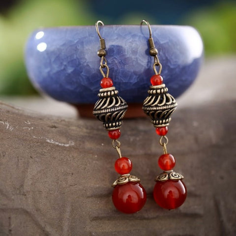 Manual retro sterling silver red agate long earrings