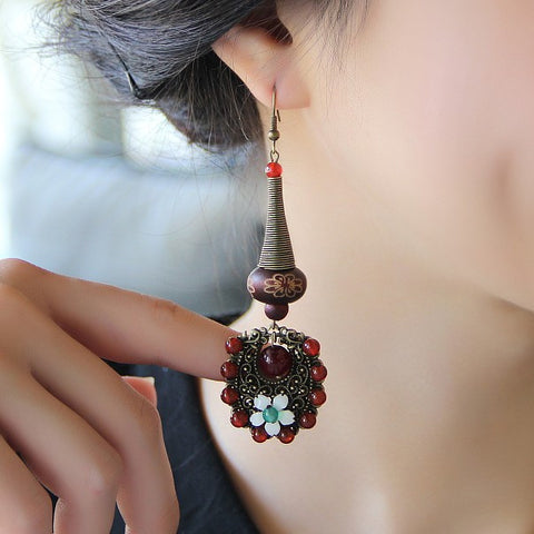 Manual retro exaggerated agate ornament flower sterling silver earring