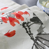 Vintage ink painting printed lotus linen fabric back pillowcase