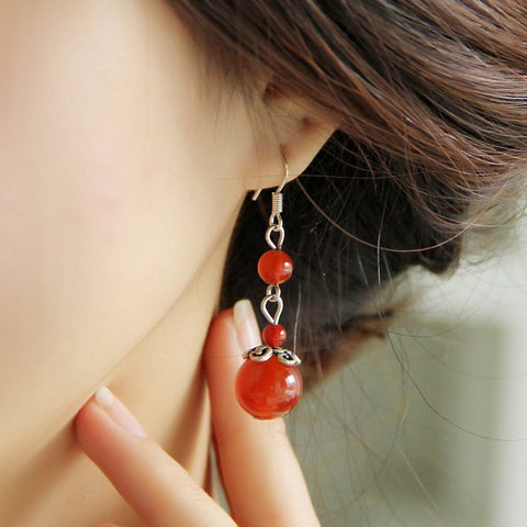 Elegant retro national style long red agate earrings