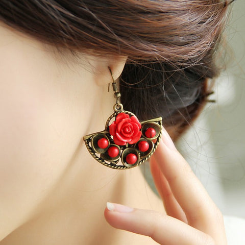 National  style exaggerated retro fan-shaped  big red rose earrings
