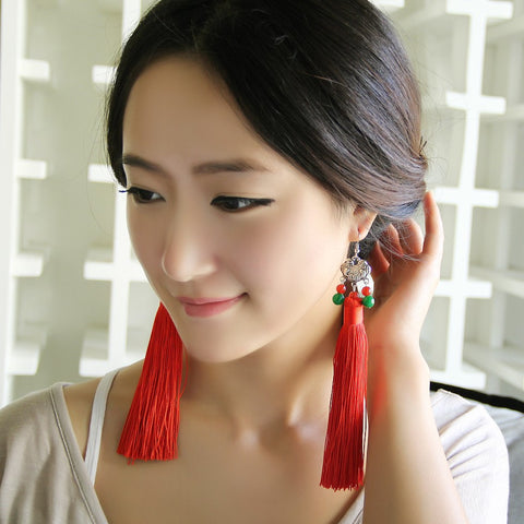 The classical folk style long red tassel earrings