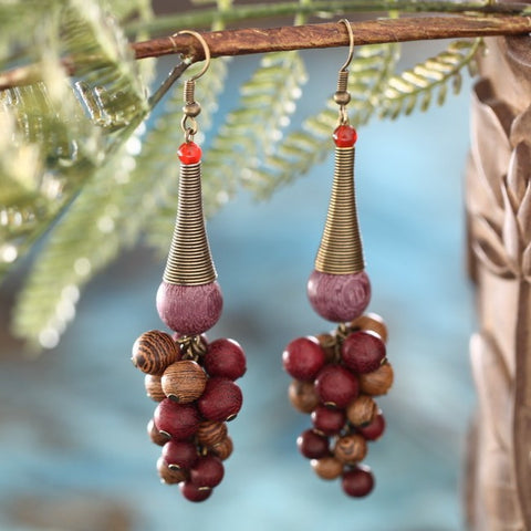 Handmade exaggerated retro grape string wooden earrings without ears pierced