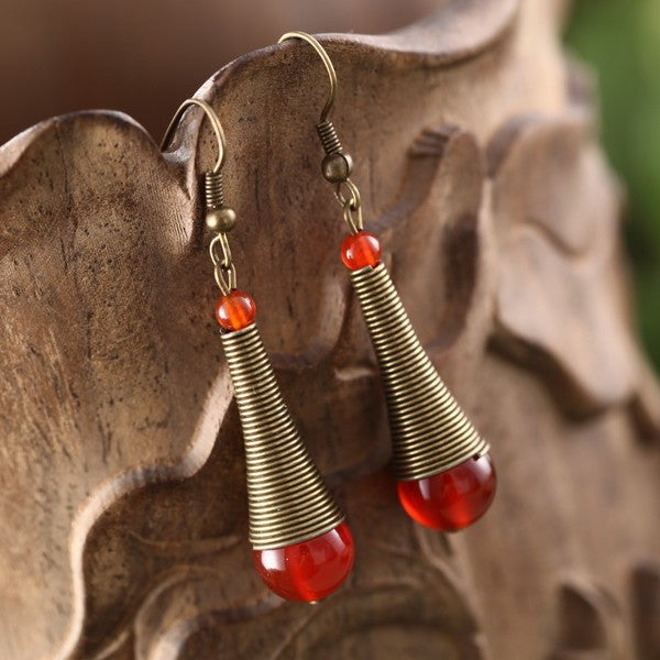 Simple retro fashionable  drop-shaped tiny red agate earrings