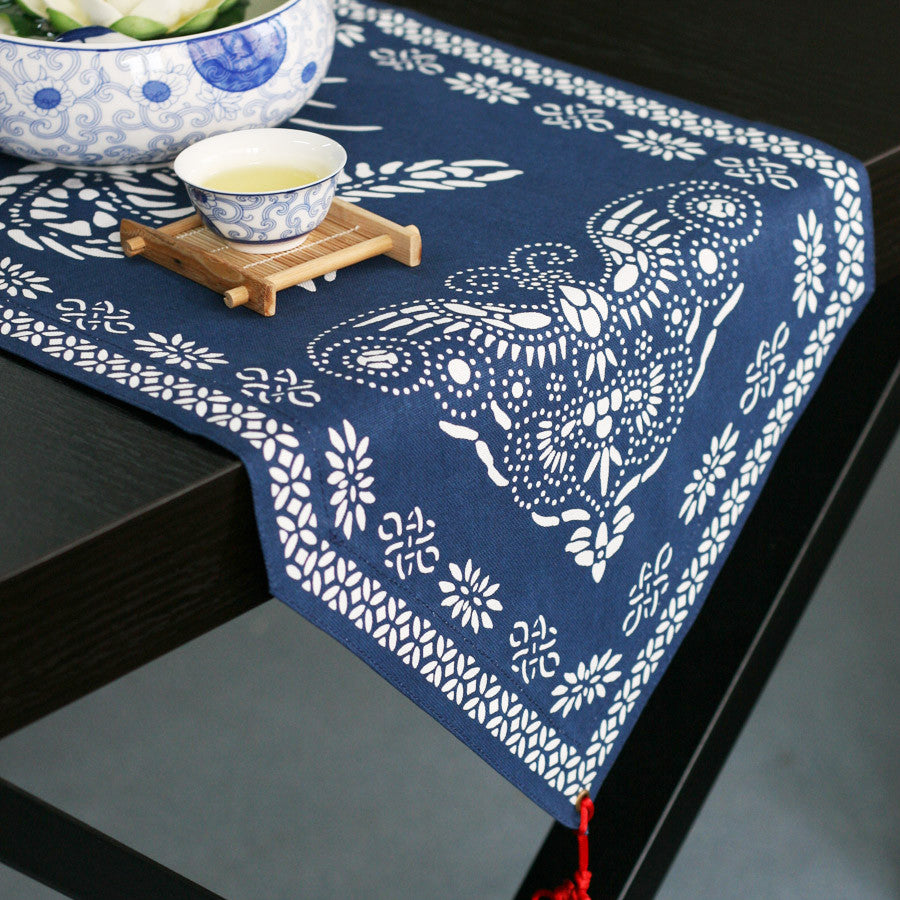 Purified cotton table runner and tablecloth -The harmony of phoenix and peony