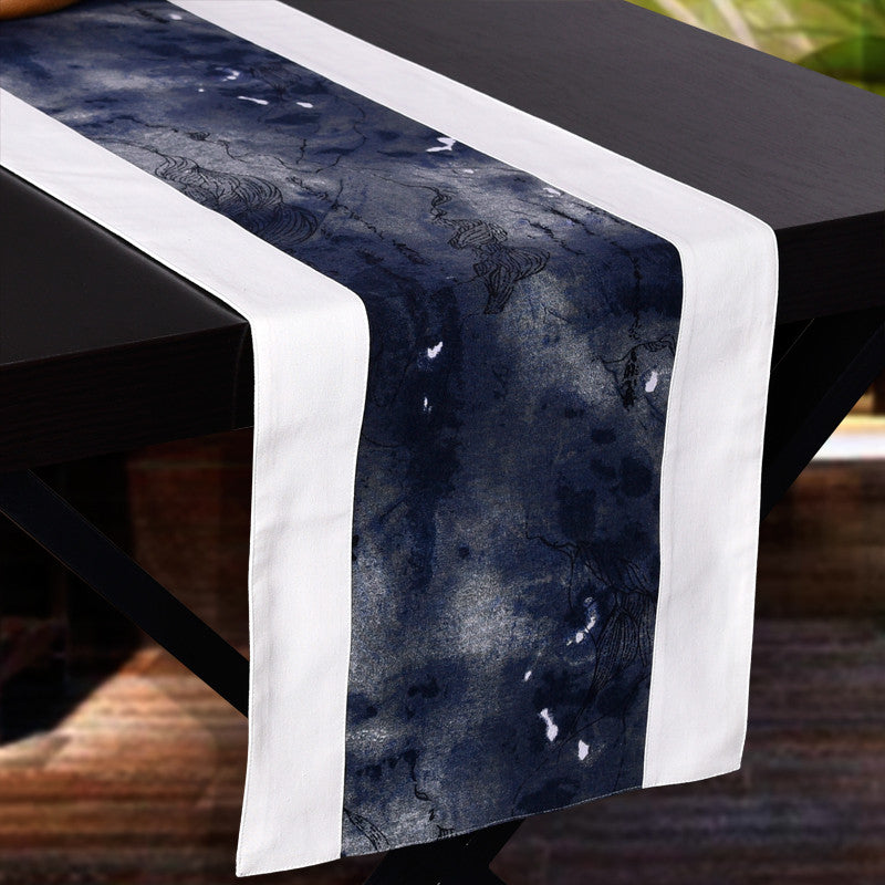 Vintage ink painting style fabric tablecloth