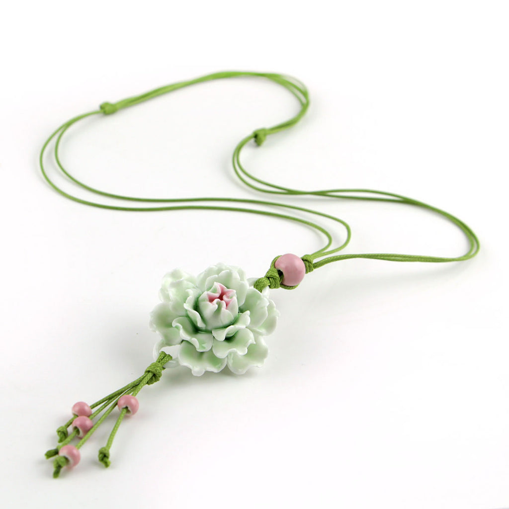 Handmade peony porcelain necklace as sweater decoration - cultureincart.com