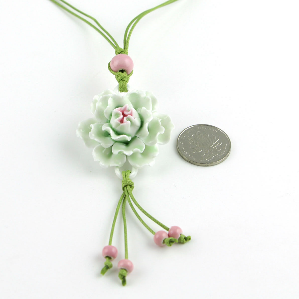 Handmade peony porcelain necklace as sweater decoration