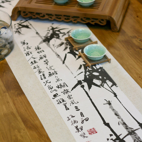 Traditional ink painting vintage printed ink bomboo tablecloth