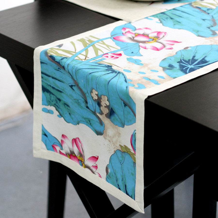 Printed heat insulation tablecloth-The summer night of lotus pond