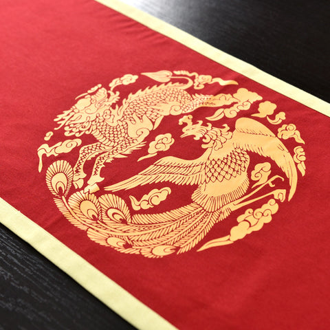 Red printed kylin and phoenix tablecloth