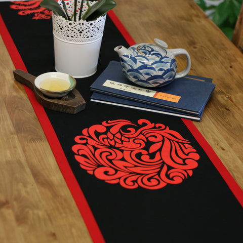 Handmade black printed phoenix tablecloth
