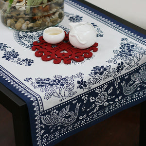 Countryside printed style fabric linens tablecloth-The attraction of peony to birds - cultureincart.com