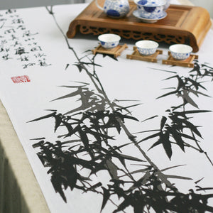 Traditional ink painting printed bamboo linens fabric tablecloth