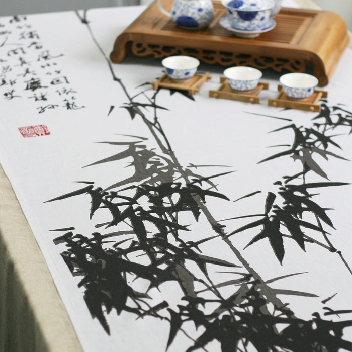 Traditional ink painting printed bamboo linens fabric tablecloth - cultureincart.com