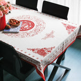 Vintage elegant oriental red fabric tablecloth