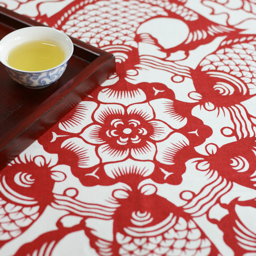 Fabric tablecloth -The harmony of fishes and lotus