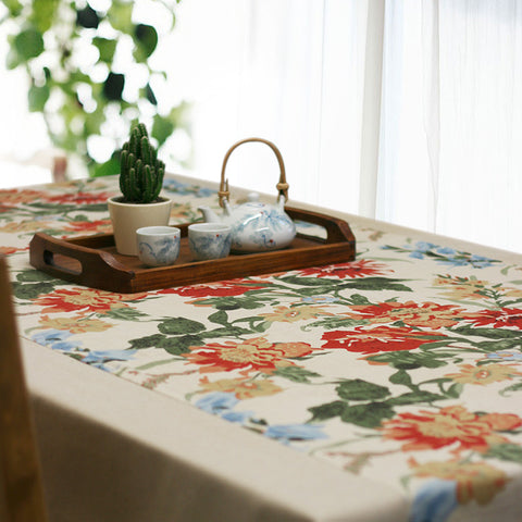 Classical countryside prony printed style fabric linens tablecloth