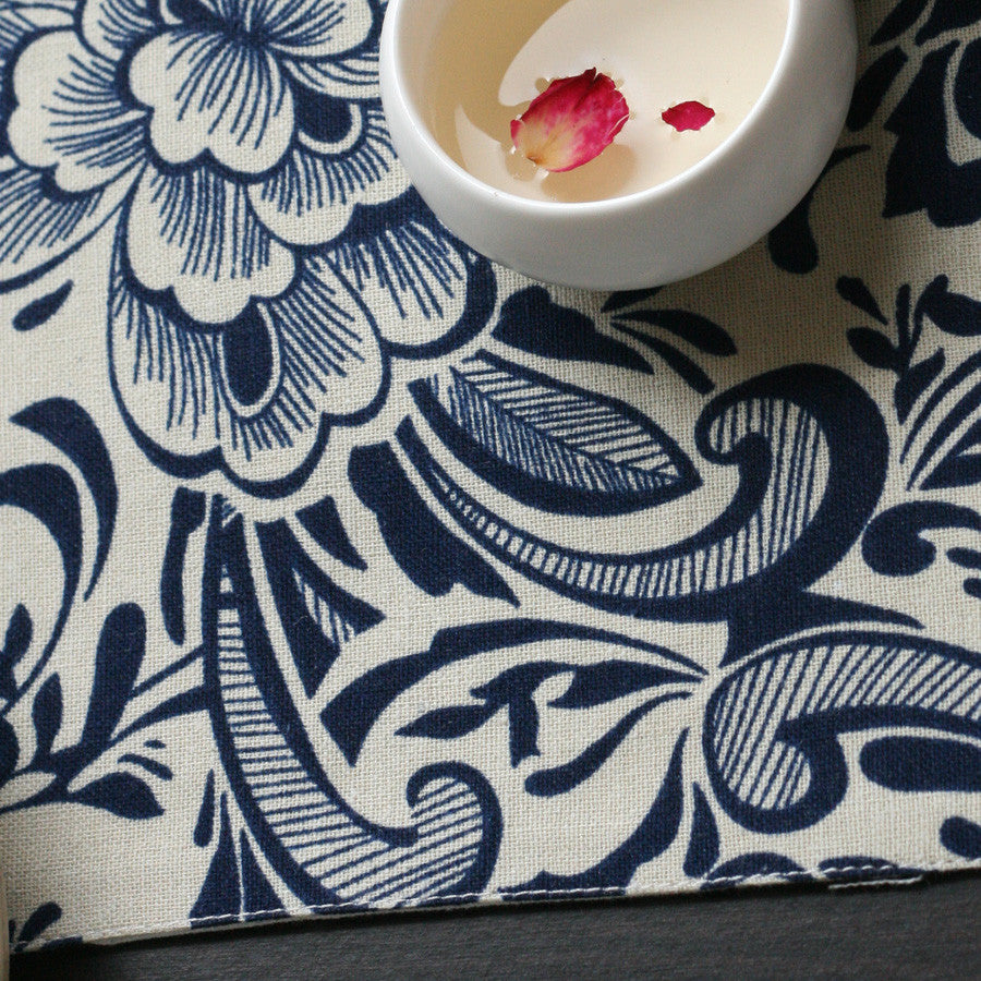Classical peony printed heat insulation fabric palcemat - cultureincart.com