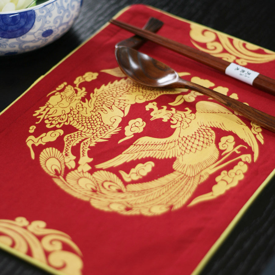 Handmade red kylin and phoenix cotton and linen placemat