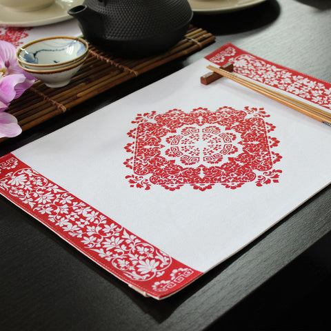 Handmade heat insulation and antiskid fabric placemat -The beauty of flowers
