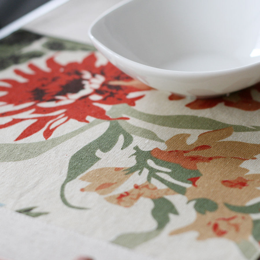 Vintage peony printed heat insulation and antiskid tablecloth