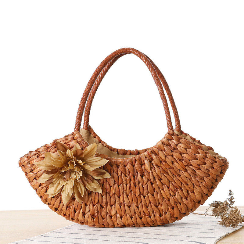Flowers pendent sling handmade woven ship shape bag