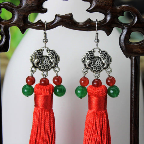 Classical folk style long red tassel earrings