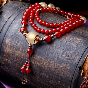 Original retro national style crystal red agate bracelet - cultureincart.com