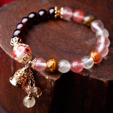 National style manual colour decoration garnet aureate flower bracelet
