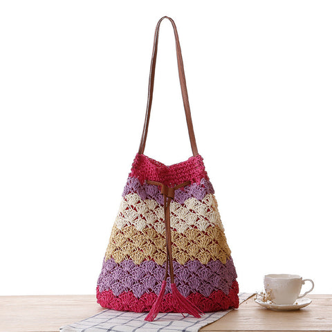 Multicolored striped straw hand woven bucket bag