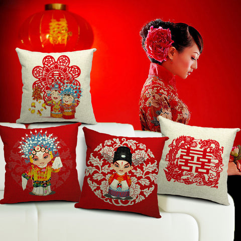 Jubilant linens  printed back cushion for traditional marriage