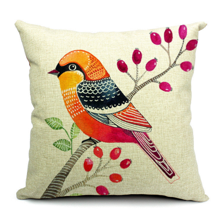 Nordic style simple and fresh style flowers and birds printed back cushion