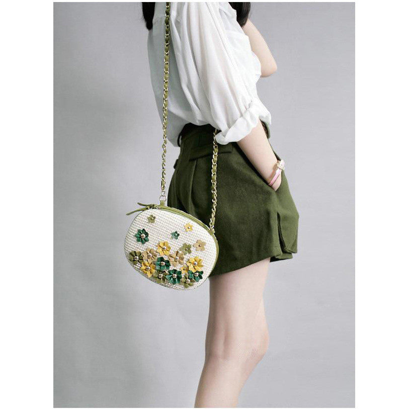 Flowers and leather patchwork handwoven dual bag