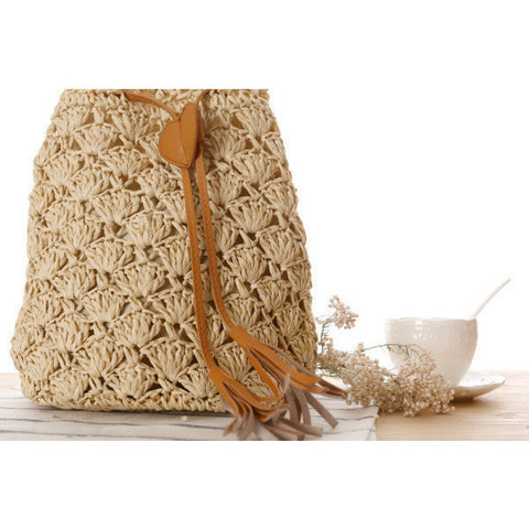 Casual tassel hand knitting bucket bag