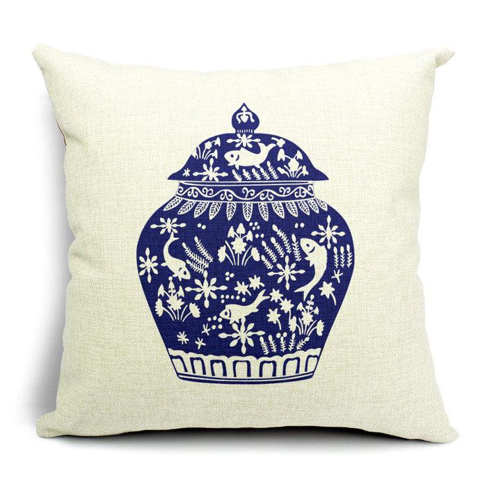 Blue porcelain pattern printed linen office back cushion - cultureincart.com