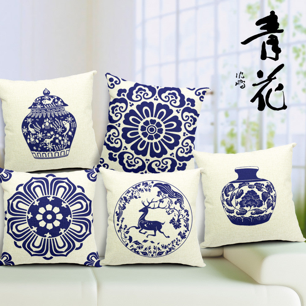 Blue porcelain pattern printed linen office back cushion
