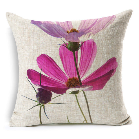 Fresh pink flowers printed linen back cushion