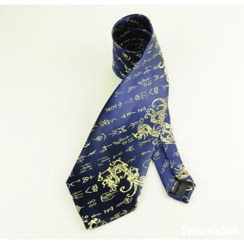 Blue Dragon and Characters Brocade Tie