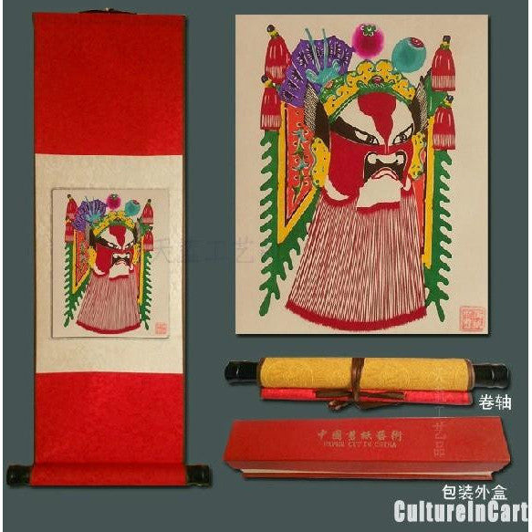 BeiJing Opera Masks Paper Cutting Scroll Painting 2