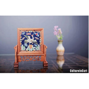 Blue Crane Retro Wood Brocade Decoration - cultureincart.com