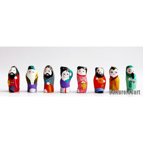 Mini Eight Immortals Clay Figurine Suite