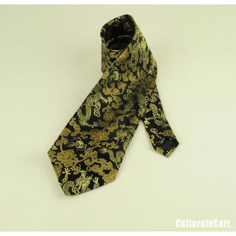 Golden Dragon and Small Floral Brocade Tie
